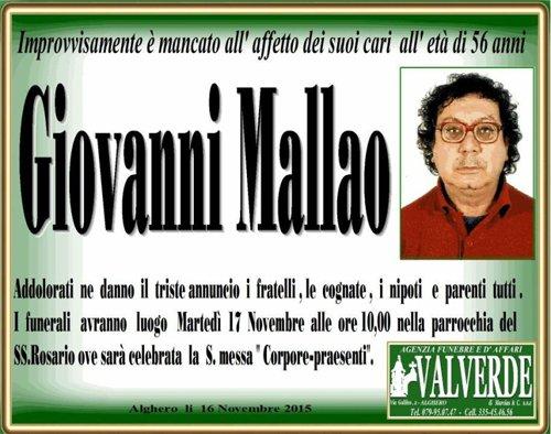 manifesto funebre Giovanni Mallao
