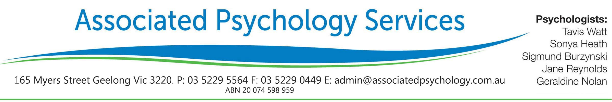 associated psychology services header with logo
