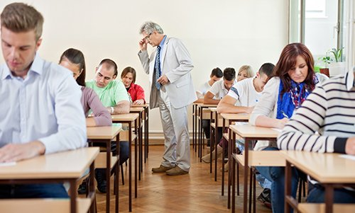 Students giving tests in a tutoring class in Johns Creek, GA