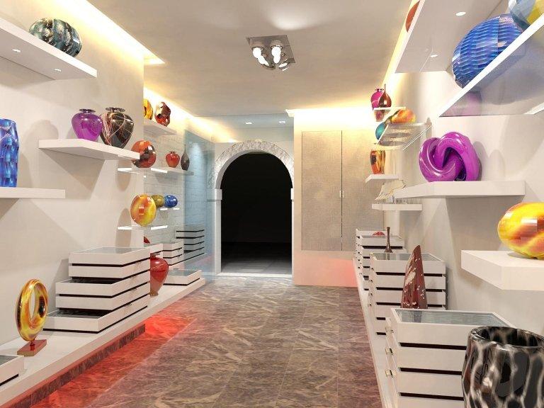 progetto allestimento negozio a Murano (in coll. con studio MB casa)