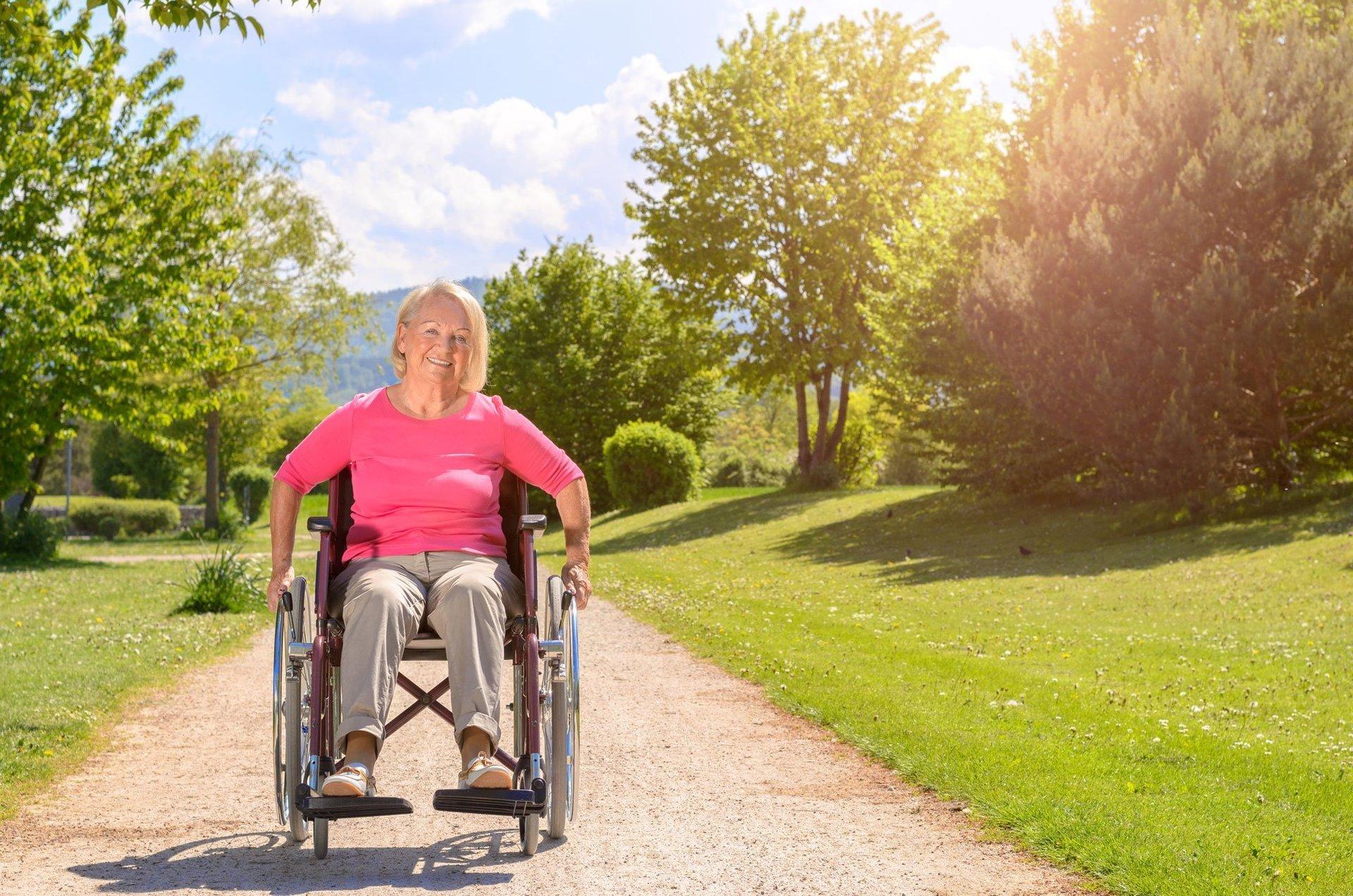 lady sitting on a wheel chair