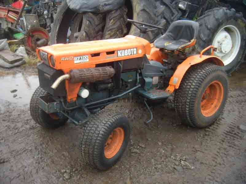 View of old orange color tractor
