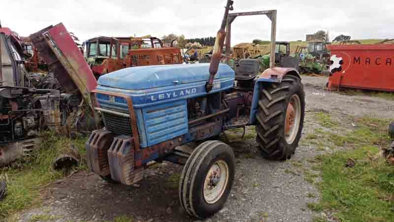 View of old blue tractor