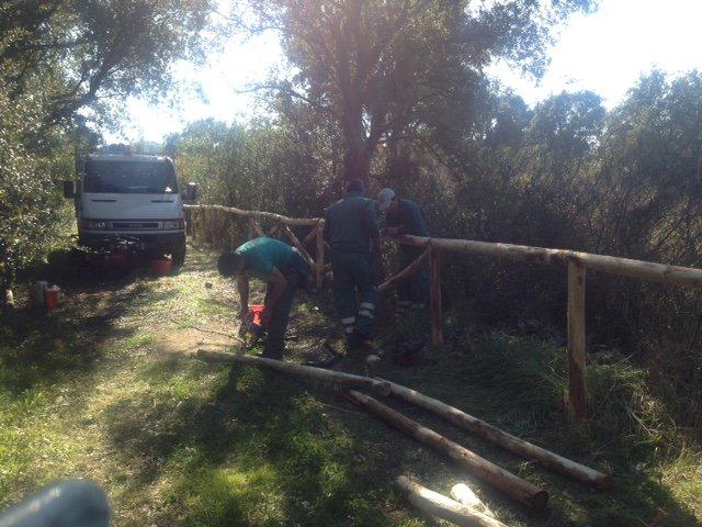 degli uomini al lavoro su uno steccato in  legno in un prato we dietro un camion