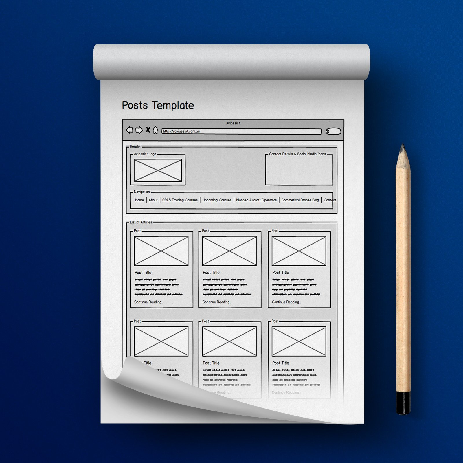 Aviassist Responsive Website Wireframes