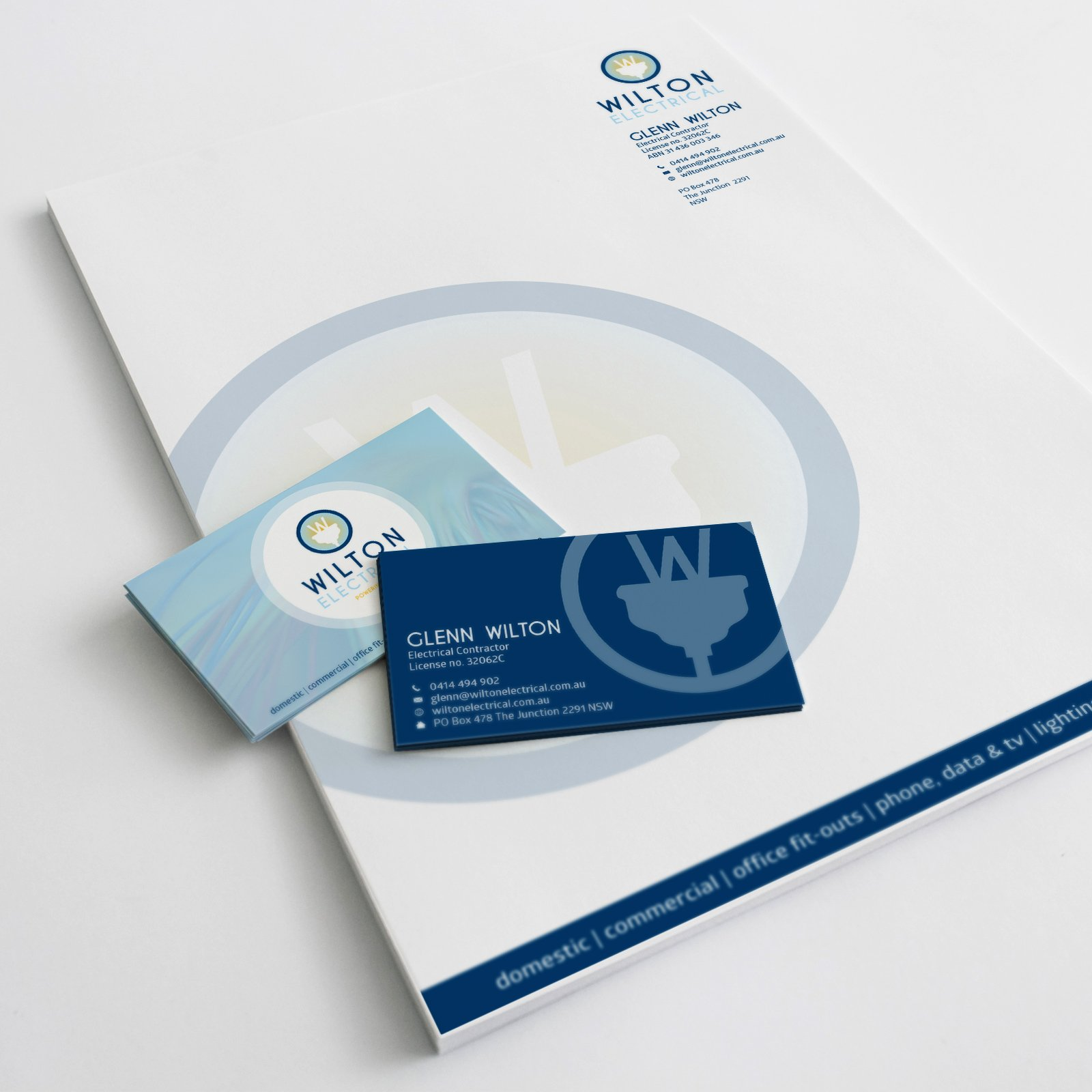 Wilton Electrical Letterhead and Business Card