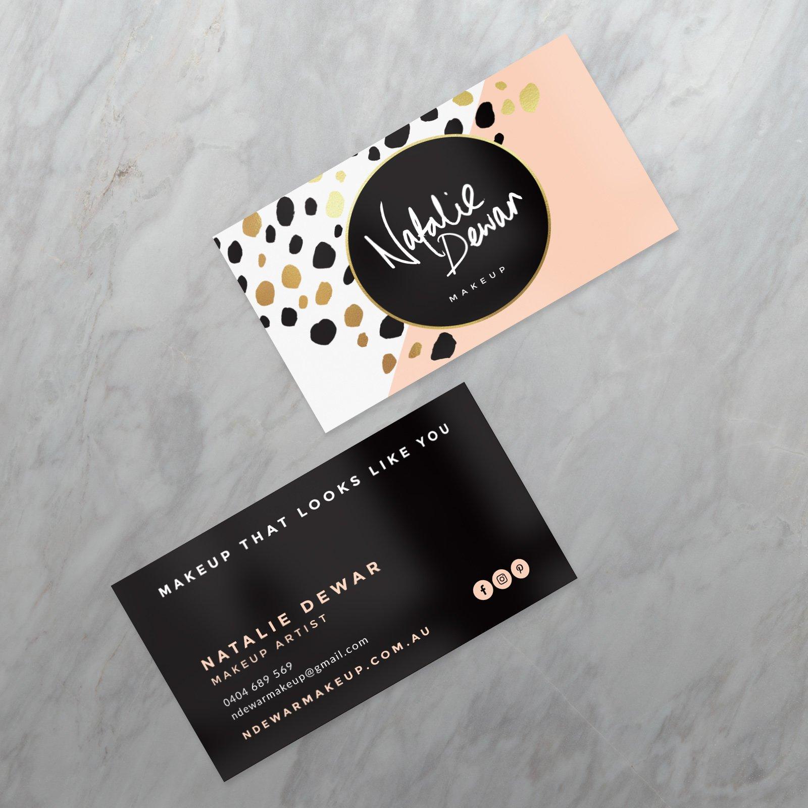 Natalie Dewar Makeup Business Card