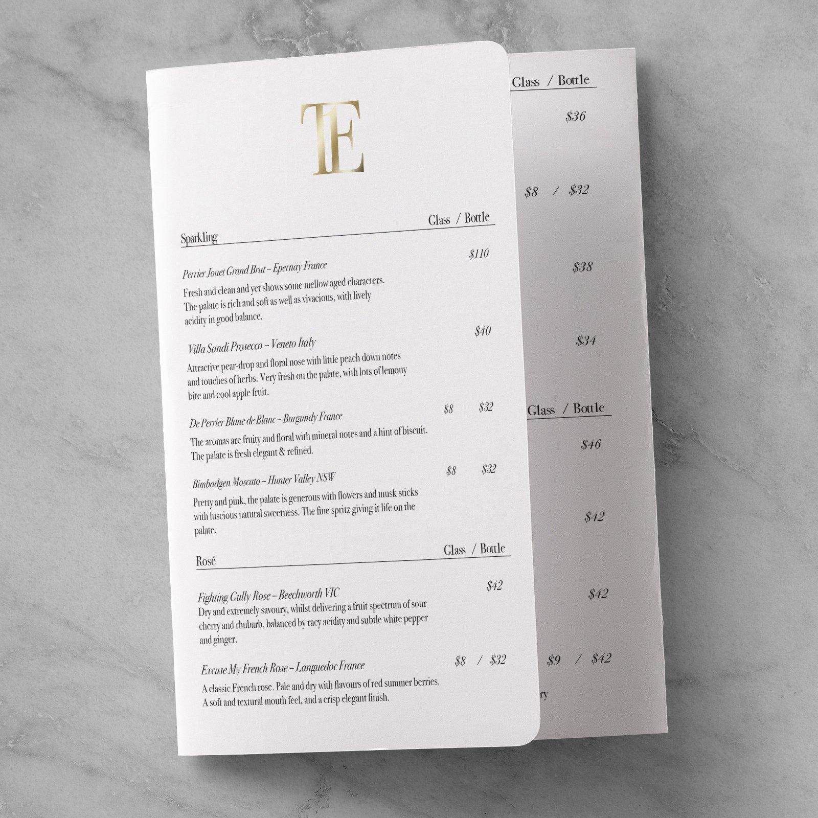 Table 1 Espresso Wine List