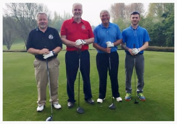Captain Andy White, Barry Enoch, club president, Martin Bayley & Jamie Pollock