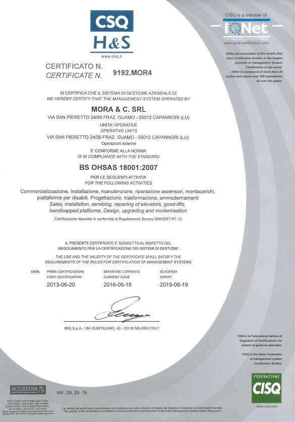 certificato bs ohsas