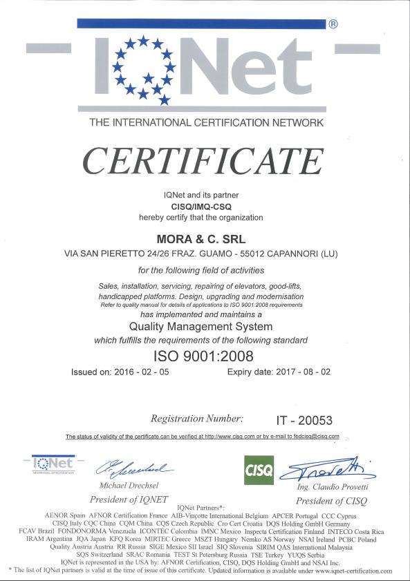 certificato net qualità