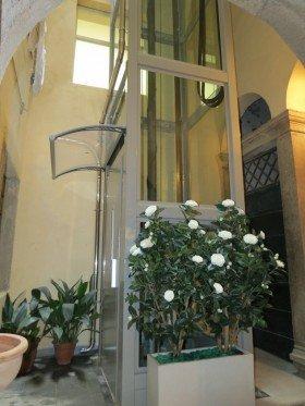 un ascensore con una struttura di vetro e un vaso di fiori davanti