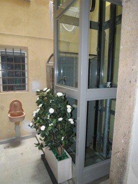 un ascensore con una struttura di vetro e un vaso di fiori accanto