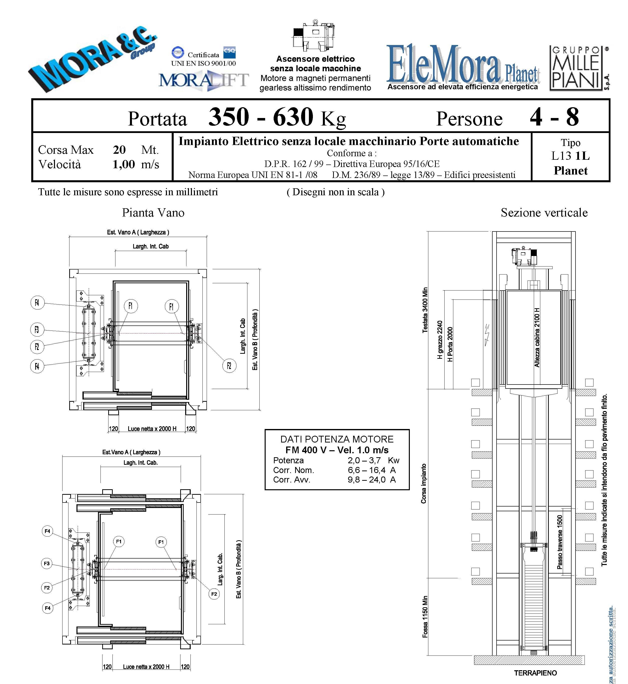 numero 2 scheda tecnica di un ascensore modello L13 1L