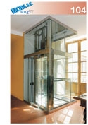 un ascensore in vetro con numero di modello 104