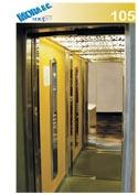 un ascensore in vetro con numero di modello 105