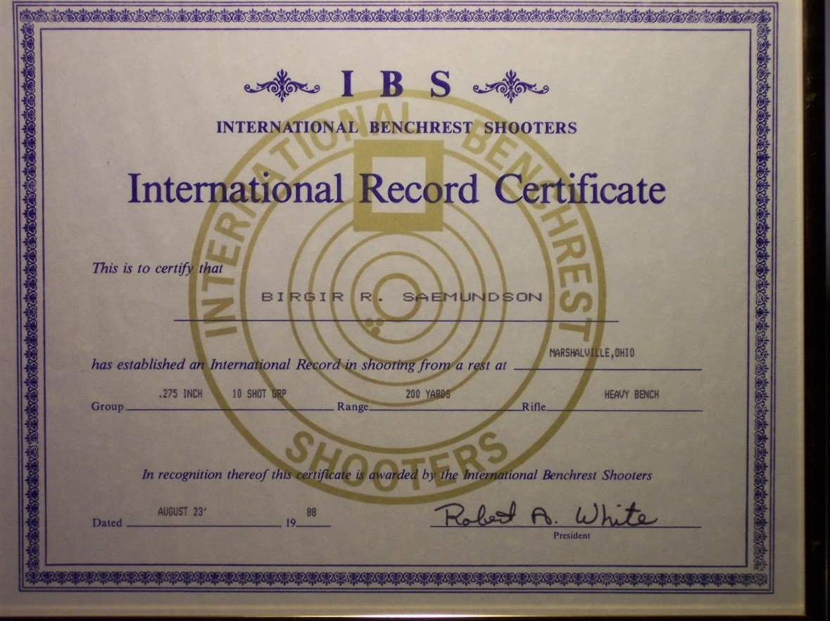 World Record 1989 IBS. H.B. Class