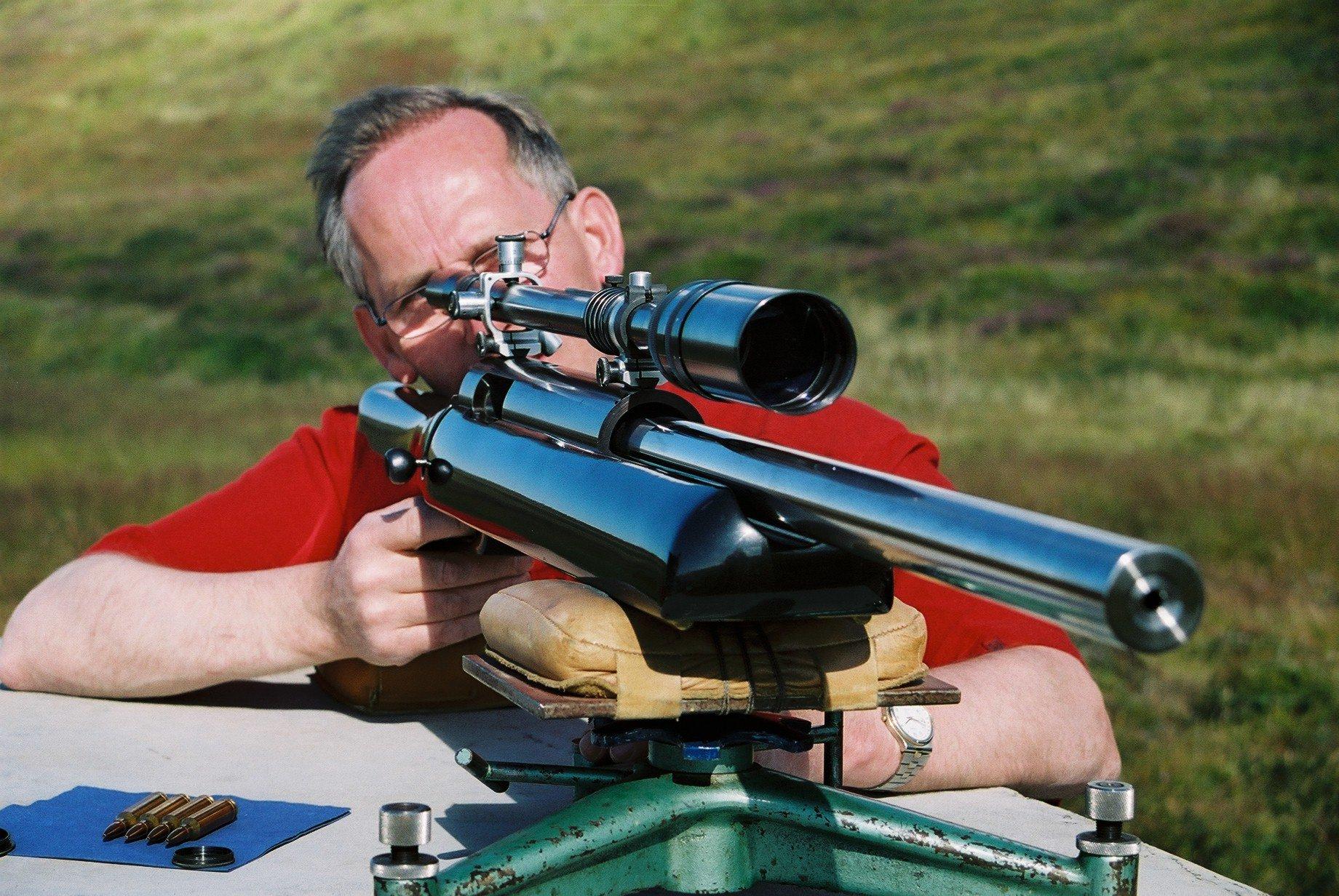 Shooting a 1000 yards rifle.