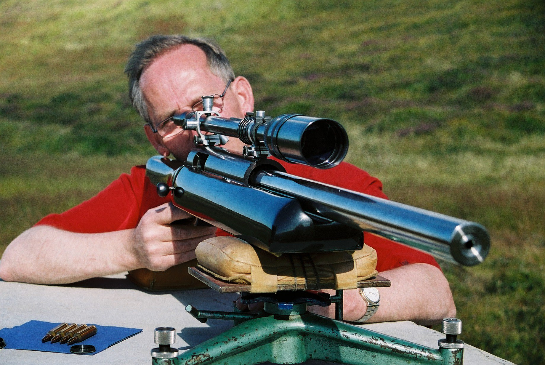 Shooting a 1000 yards rifle.