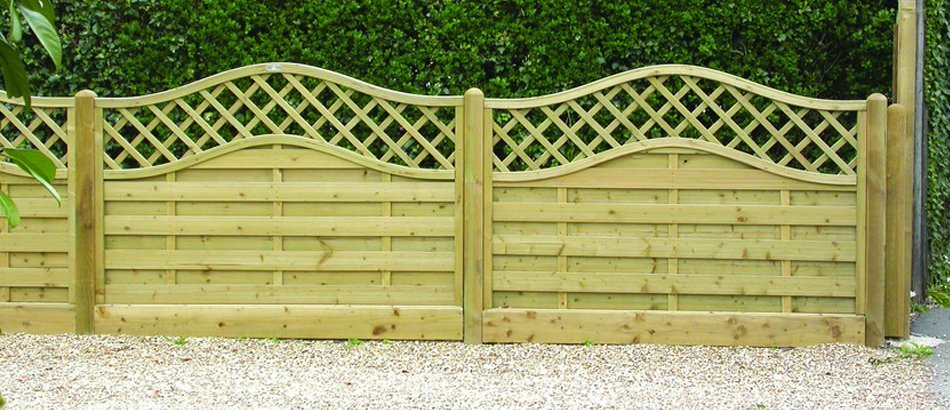 Hedge behind a low continental panel fence with trellis detail