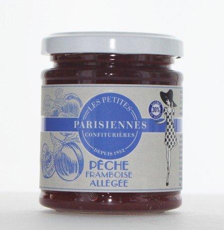 Délicieuse confiture allégée Les Petites Parisiennes saveur Pêche Framboise