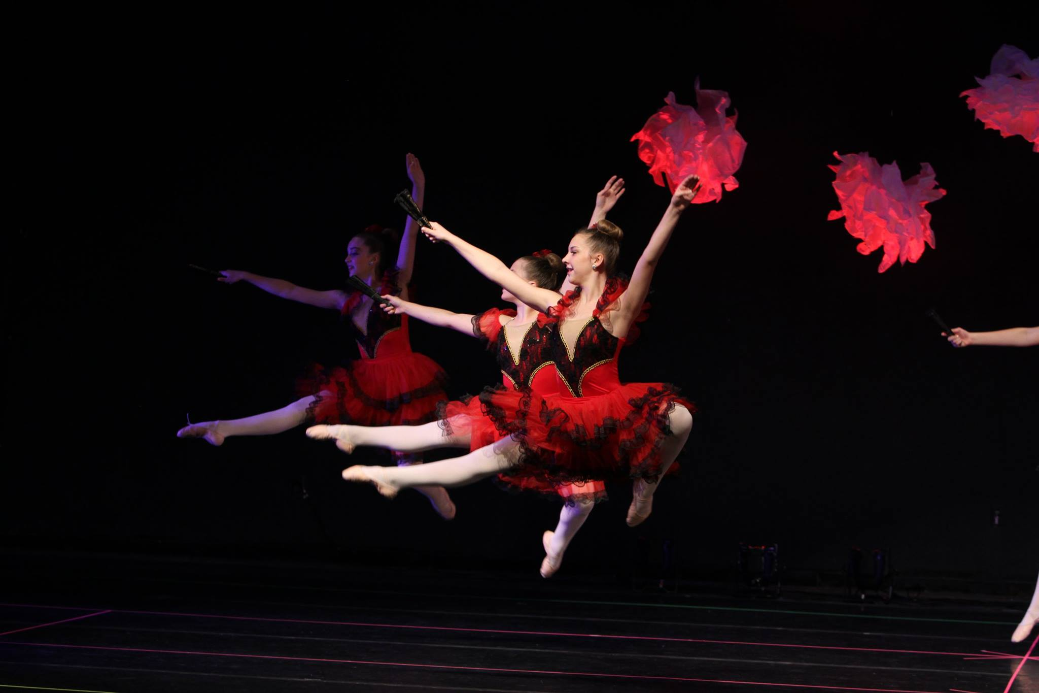 Dancers with Red Pom Poms