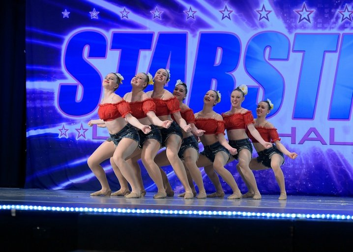Dancers on stage at competition
