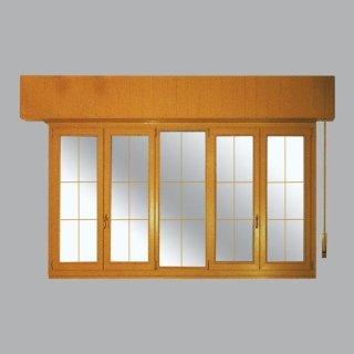 Serramento con finestre a due ante e fisso centrale