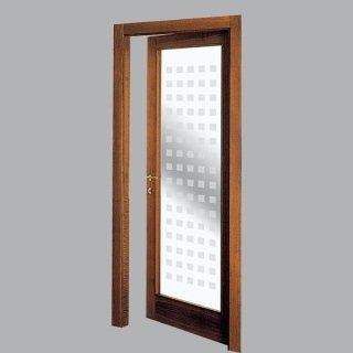 Porta per interni con cristallo decorato