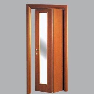 Porta pieghevole asimmetrica colore noce