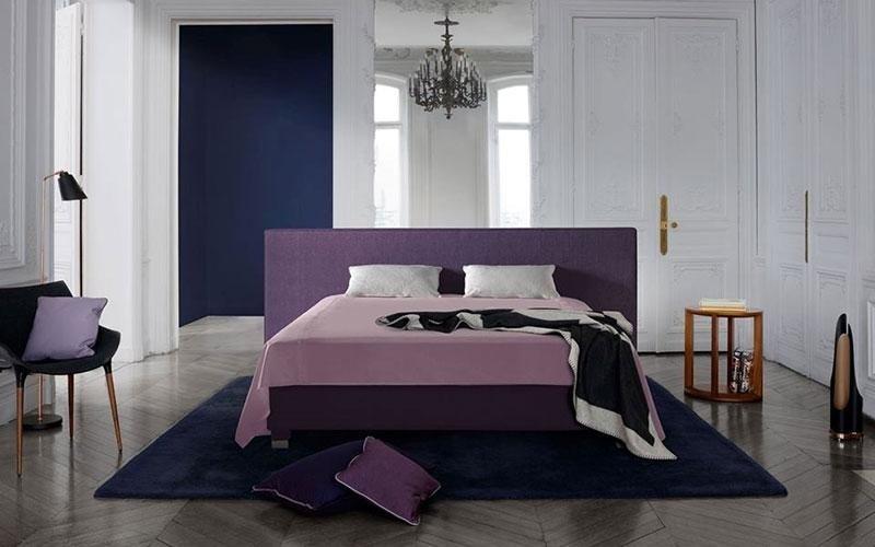 purple double bed