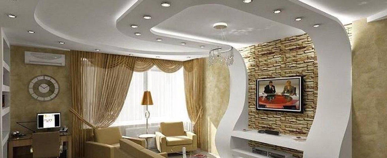 Soggiorno in stile moderno con soffitto in cartongesso