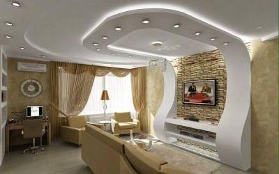soggiorno con controsoffitto illuminato