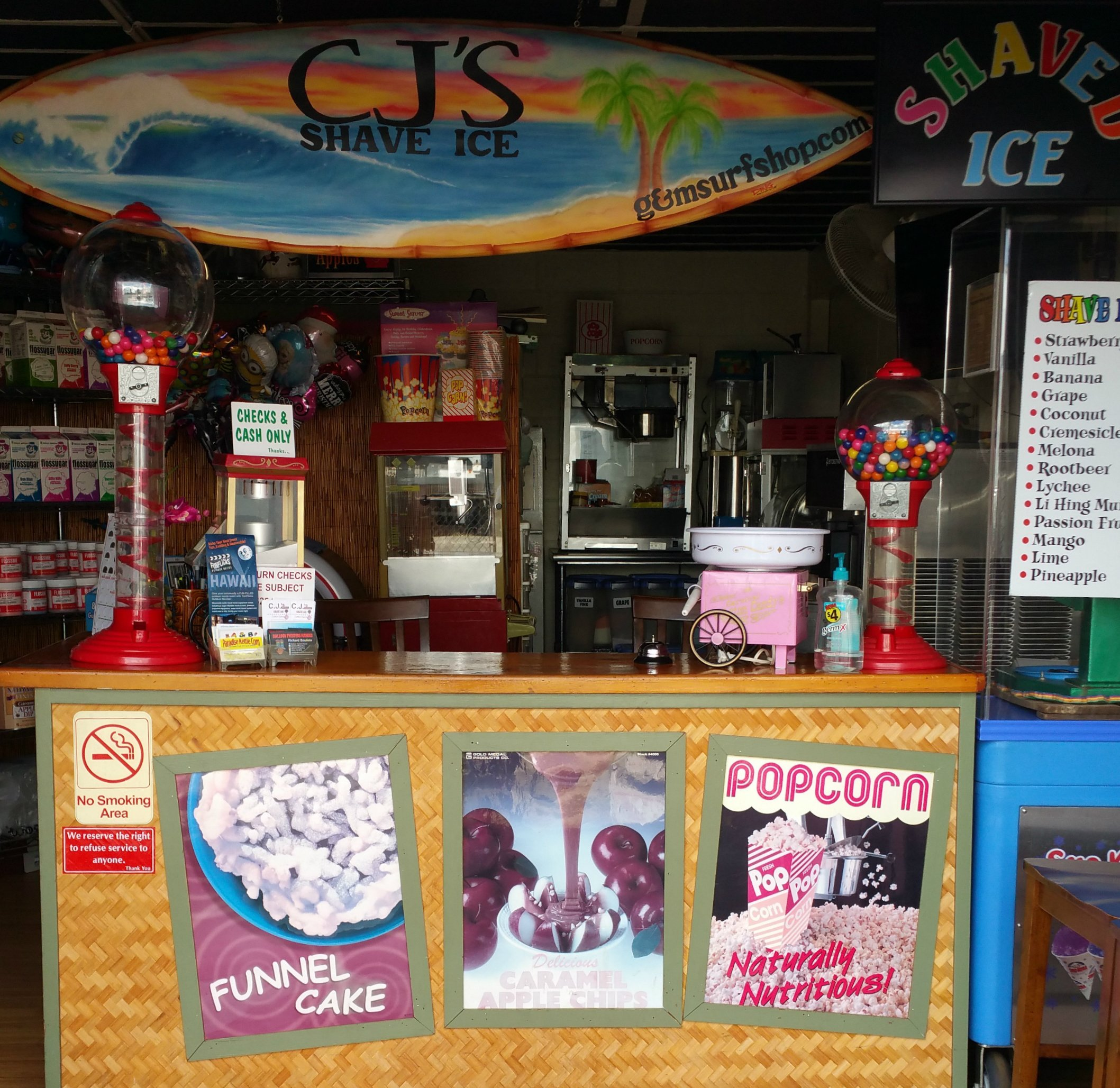 CJ's Shave Ice front desk in Honolulu, HI