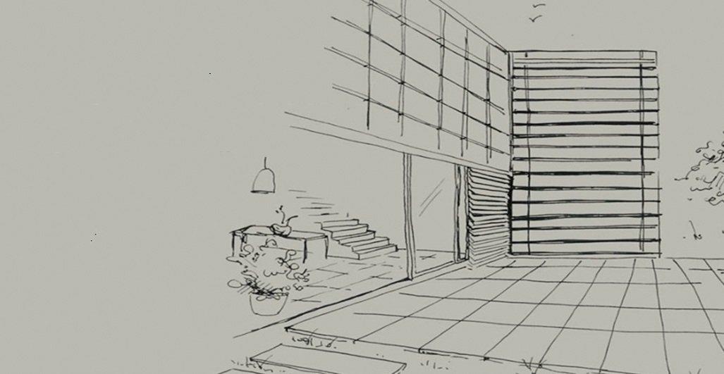 disegno a carboncino di un progetto per guardino esterno