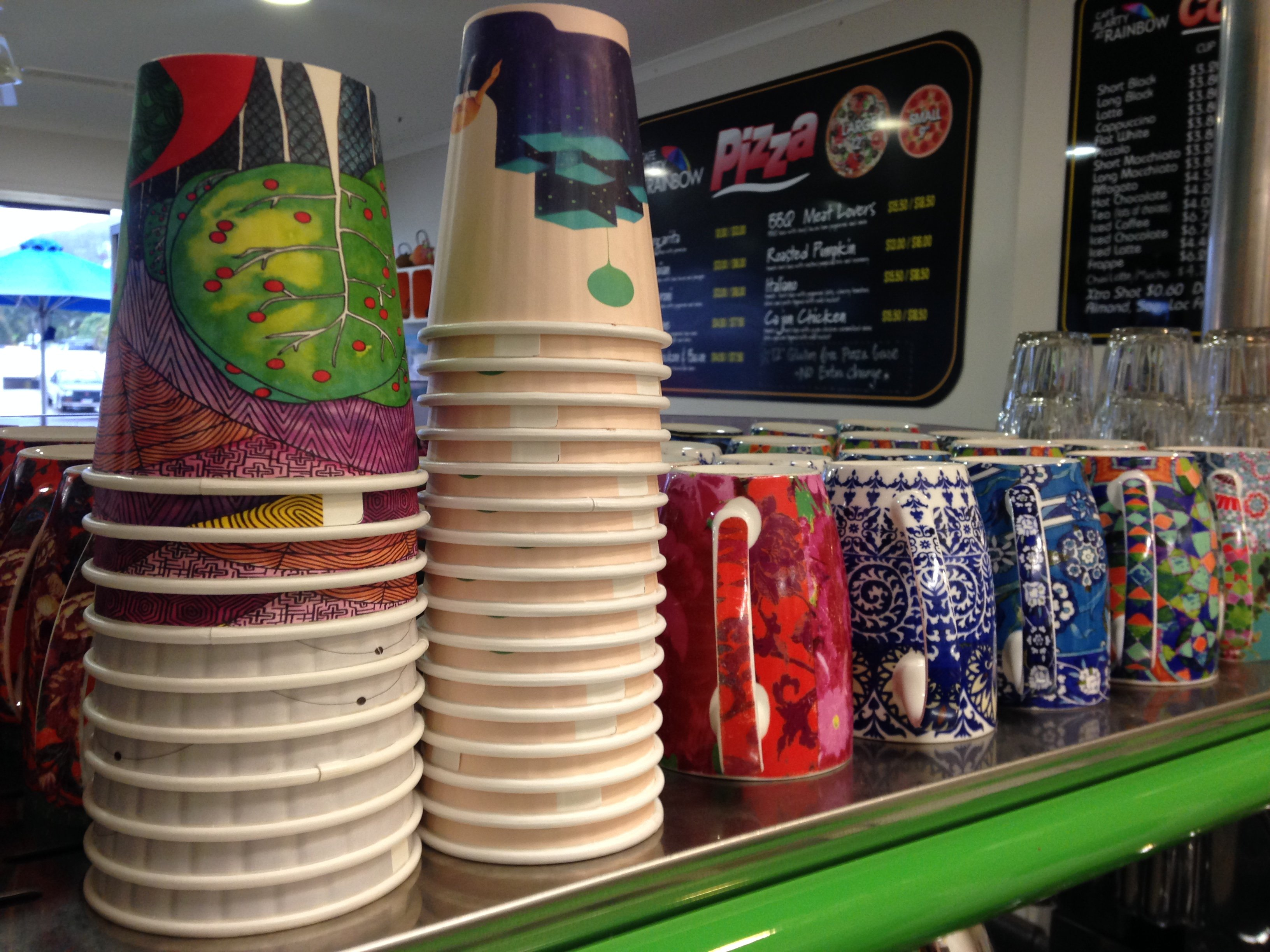 View of cups used at the cafe