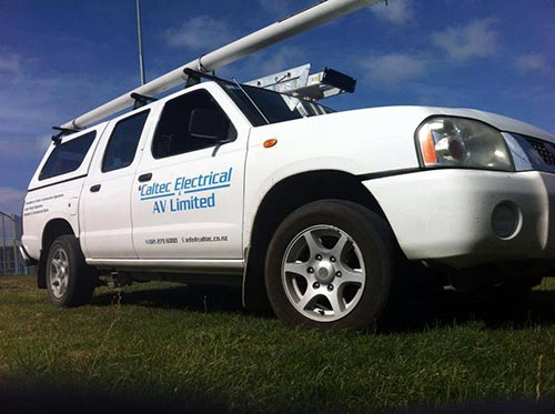 View of a Caltec Electrical & AV branded automobile