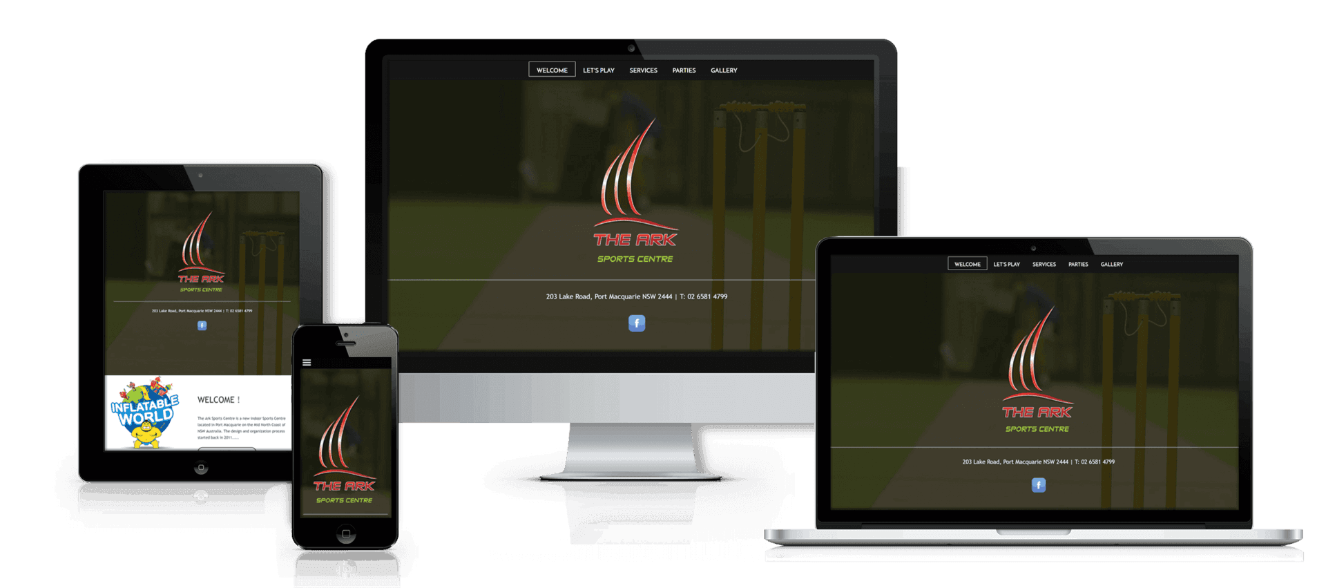 Edgezone Media client Ark Sports Centre website image.