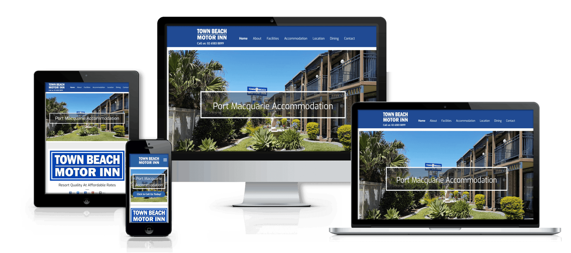 Edgezone Media client Town Beach Motor Inn website image.