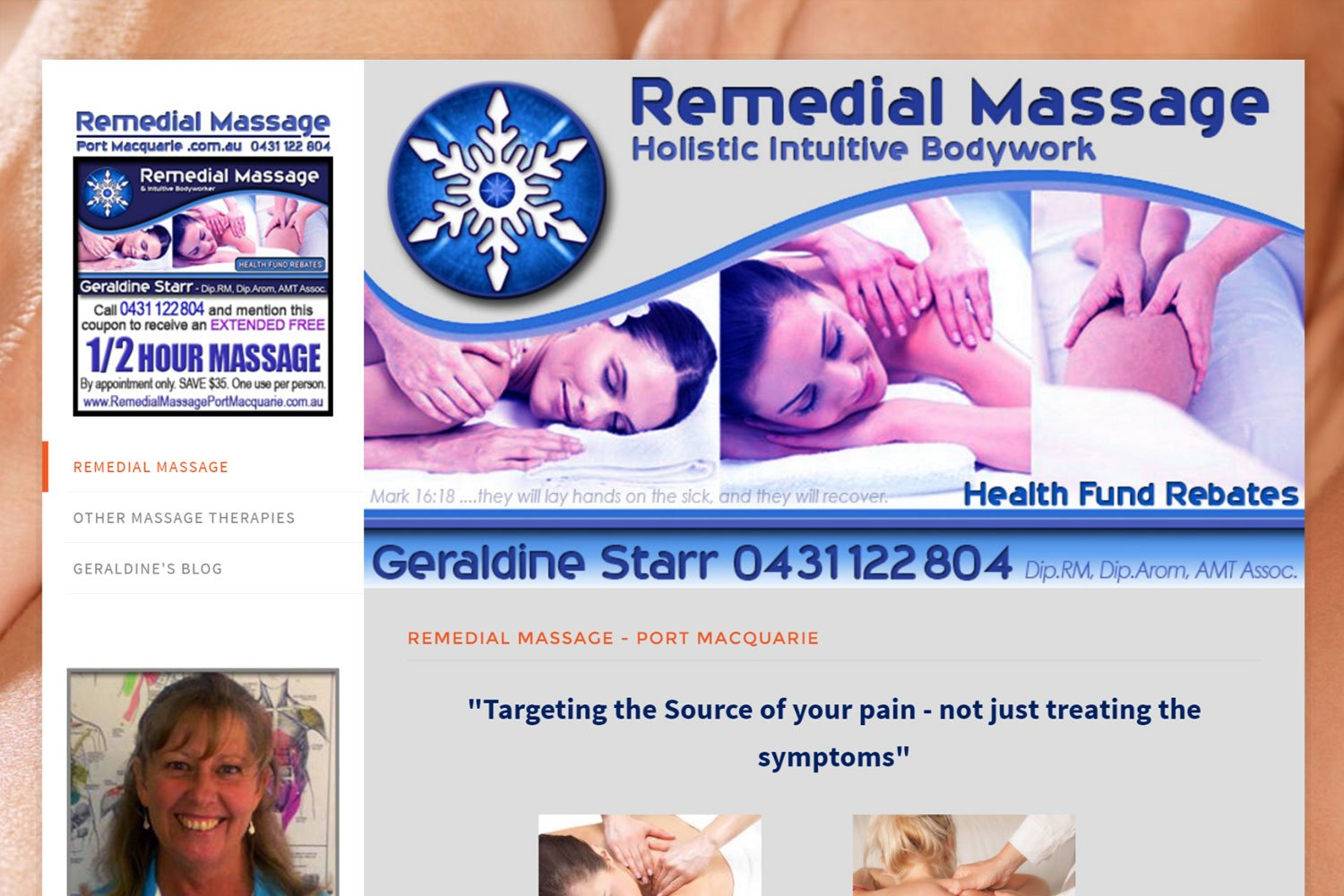Edgezone Media's Client - Remedial Massage Port Macquarie - www.RemedialMassagePortMacquarie.com.au
