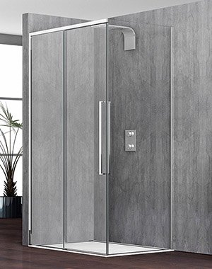 un box doccia e dietro un muro grigio