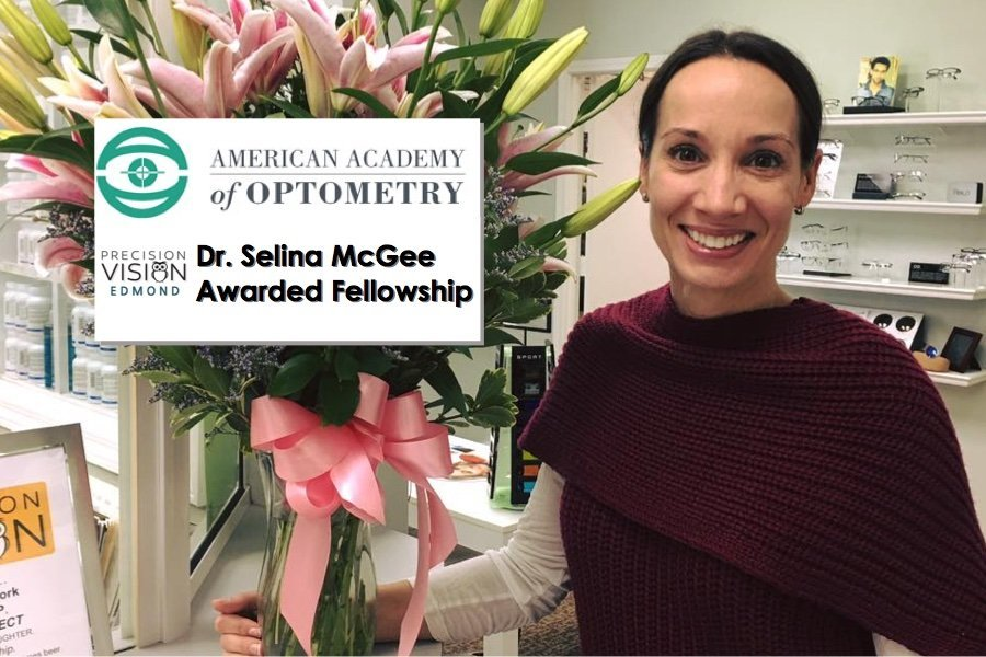 Dr. Selina McGee of Precision Vision Edmond was awarded Fellowship of American Academy of Optometry