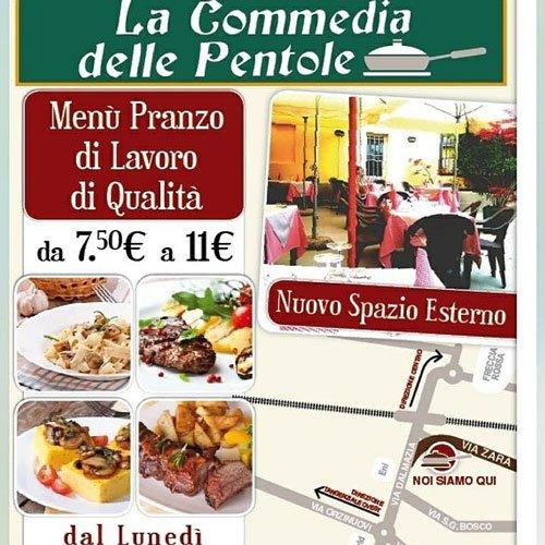 locandina con il menu del ristorante