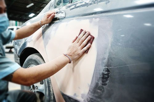 Car body work auto repair paint after the accident