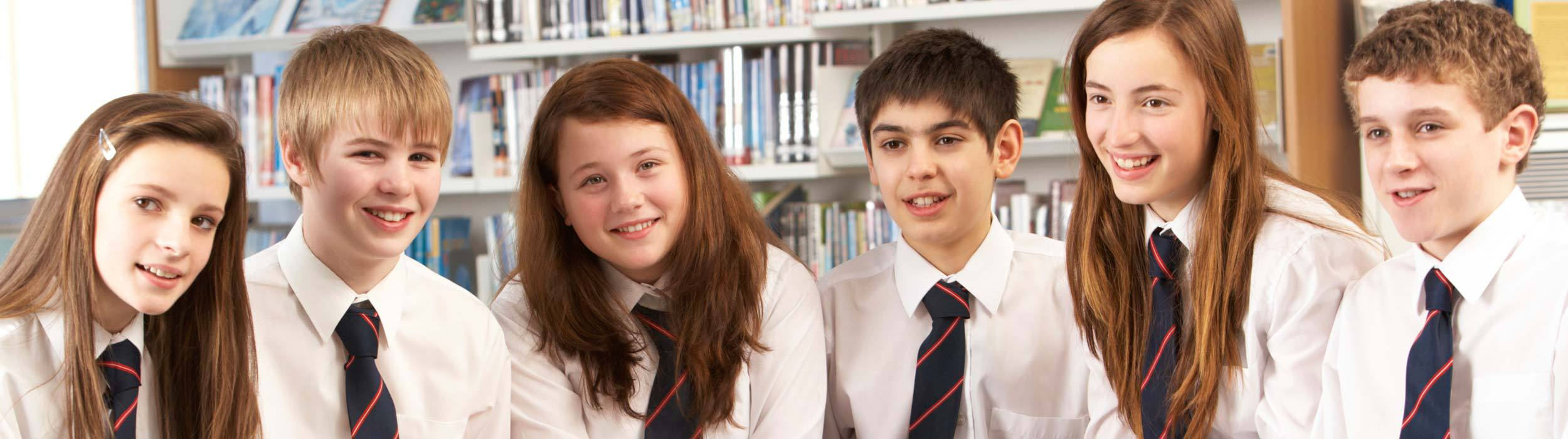 Children wearing a school uniform