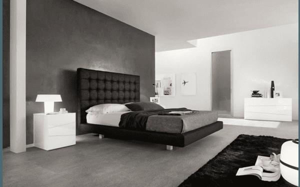 Camera da letto in bianco e nero