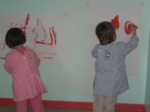 pittura muro, bambini, salone per giocare il sicurezza, monitoraggio