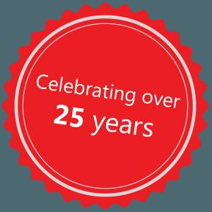 Celebrating over 25 years icon