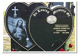 Twin heart style headstone with photo etching