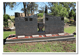 2-sided 64 Position Granite Niche Wall with base surrounds